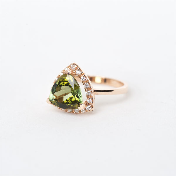 The Trinity - 14K Green Tourmaline and Diamond Ring