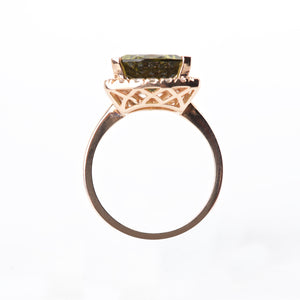 The Tegan - 14K Green Tourmaline and Diamond ring