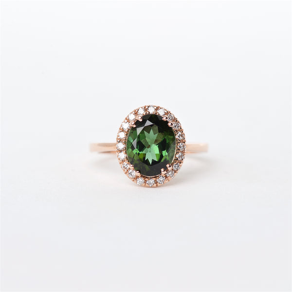 The Nora - 14K Green Tourmaline and Diamond Ring