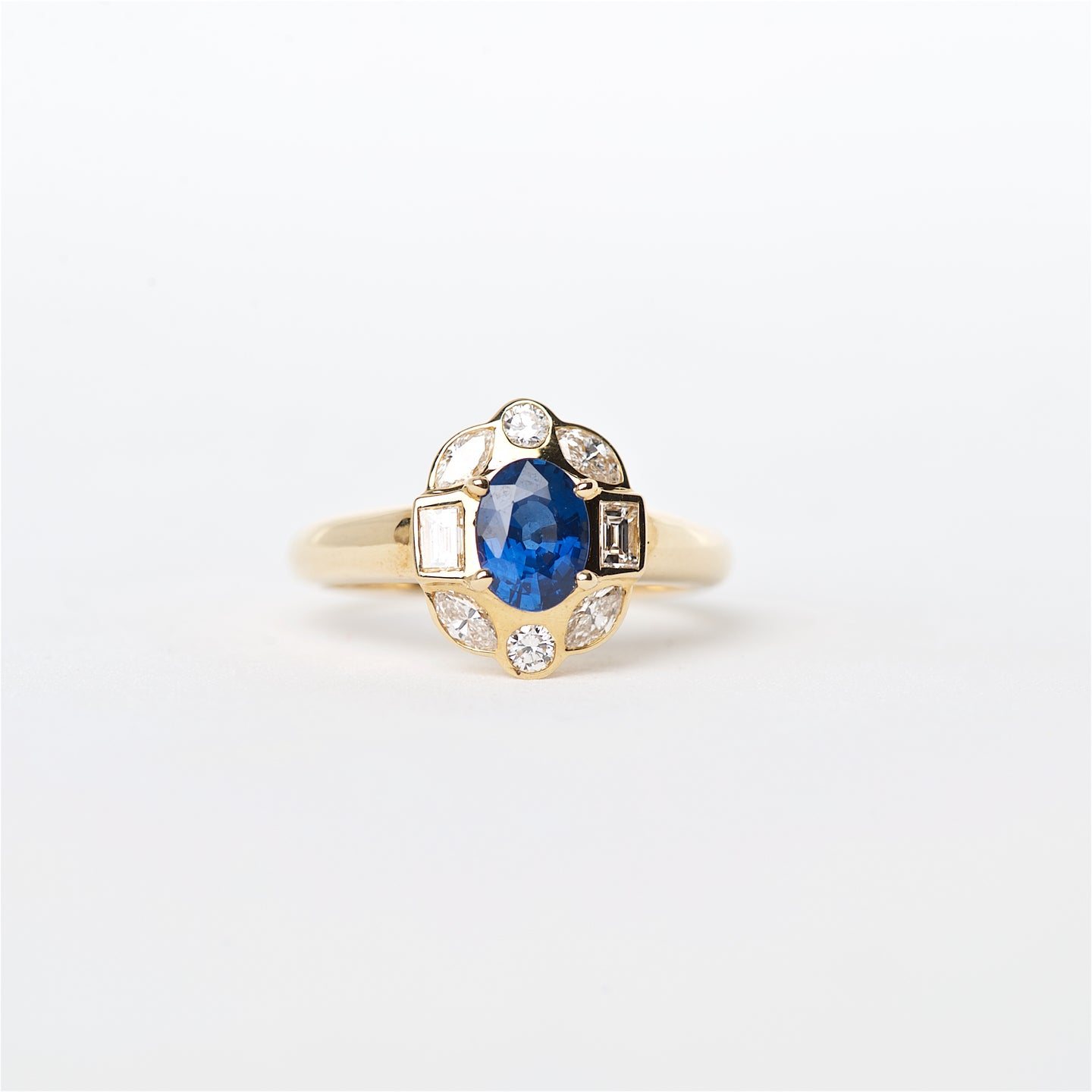 The Coleen - 18K Blue Sapphire and Diamond ring
