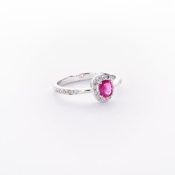 The Coralyn - 18K White Gold Pink Sapphire Ring