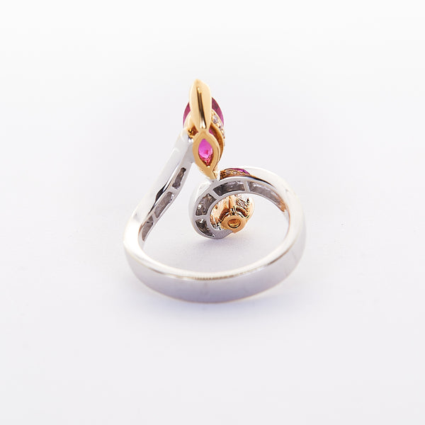 The Rubielynn - 18K White Gold with Yellow Gold accents and Ruby Ring