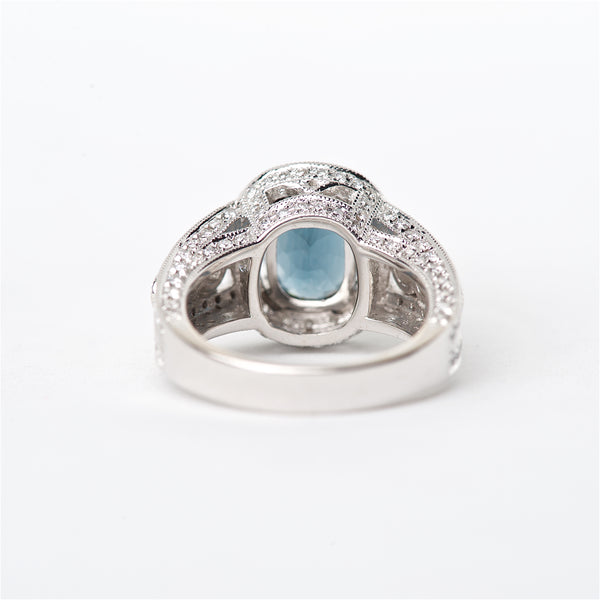 The Scarlet - 18K GIA Certified Blue Spinel and Diamond Ring