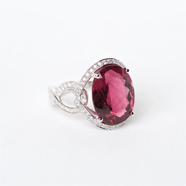 The Mara - 18K Rubellite Tourmaline and Diamond Ring