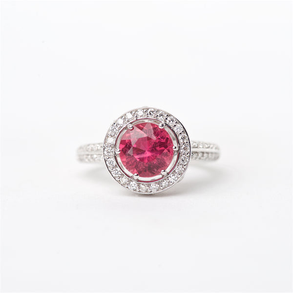 The Razia - 18K Pink Tourmaline and Diamond Ring
