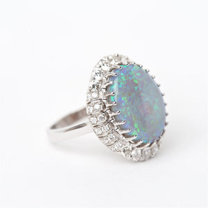 The Bahari - 18K Australian Black Opal and Diamond Ring