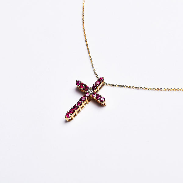 The Viola - 14K Yellow Gold Ruby & Diamond Pendant