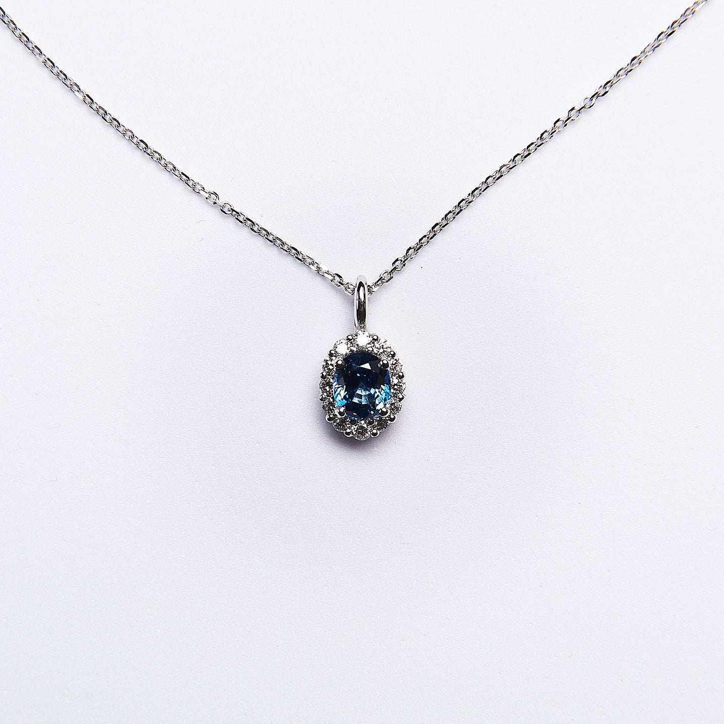 The Robin - 14K White Gold Blue Sapphire & Diamond Pendant