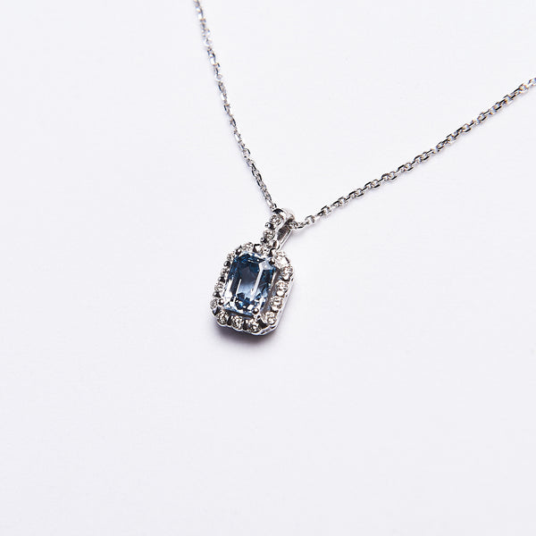 The Sandra - 14K White Gold Ceylon Sapphire & Diamond Pendant