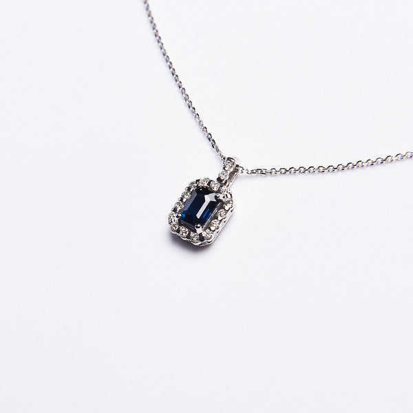 The Raven - 14K White Gold and Dark Blue Sapphire Pendant