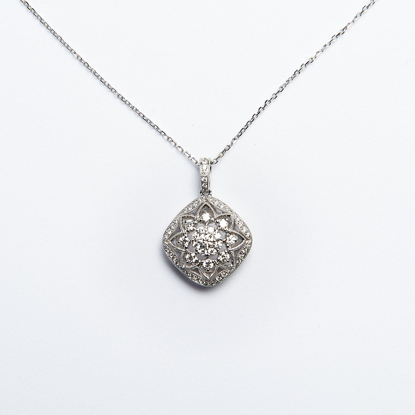 The Michaela - 14K White gold Diamond Pendant