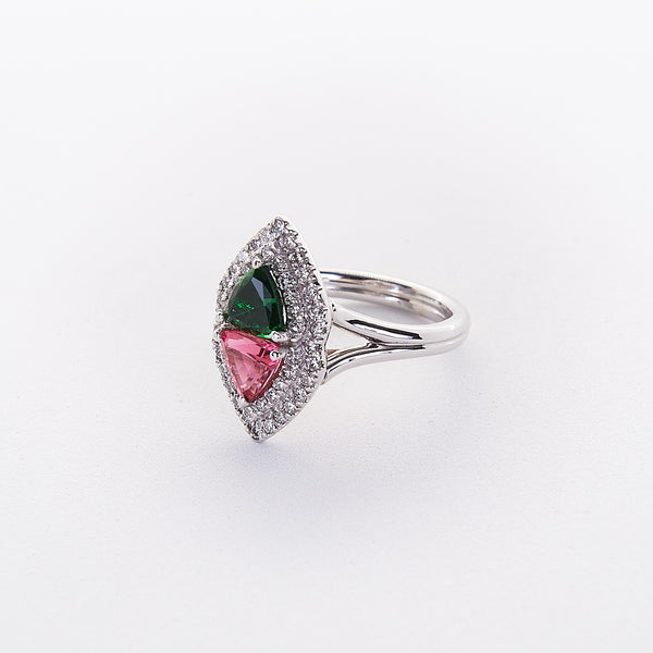 The Jinx - 18K White Gold Tsavorite and Spinel Diamond Ring