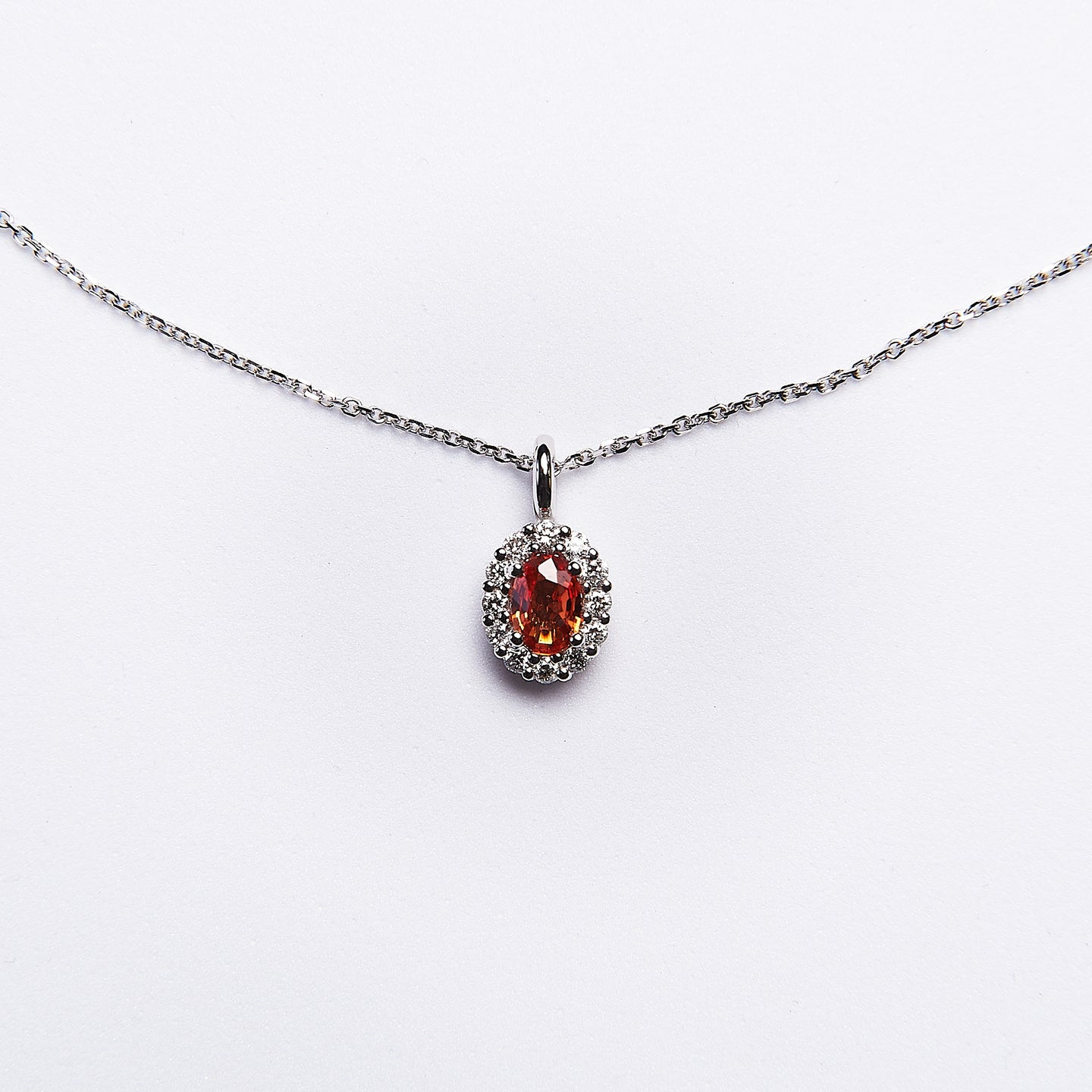 The Tatianna - 14K White Gold Orange Sapphire and Diamond Pendant