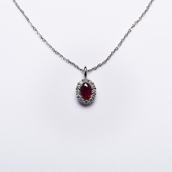 The Chichi - 14K White Gold and Ruby Pendant