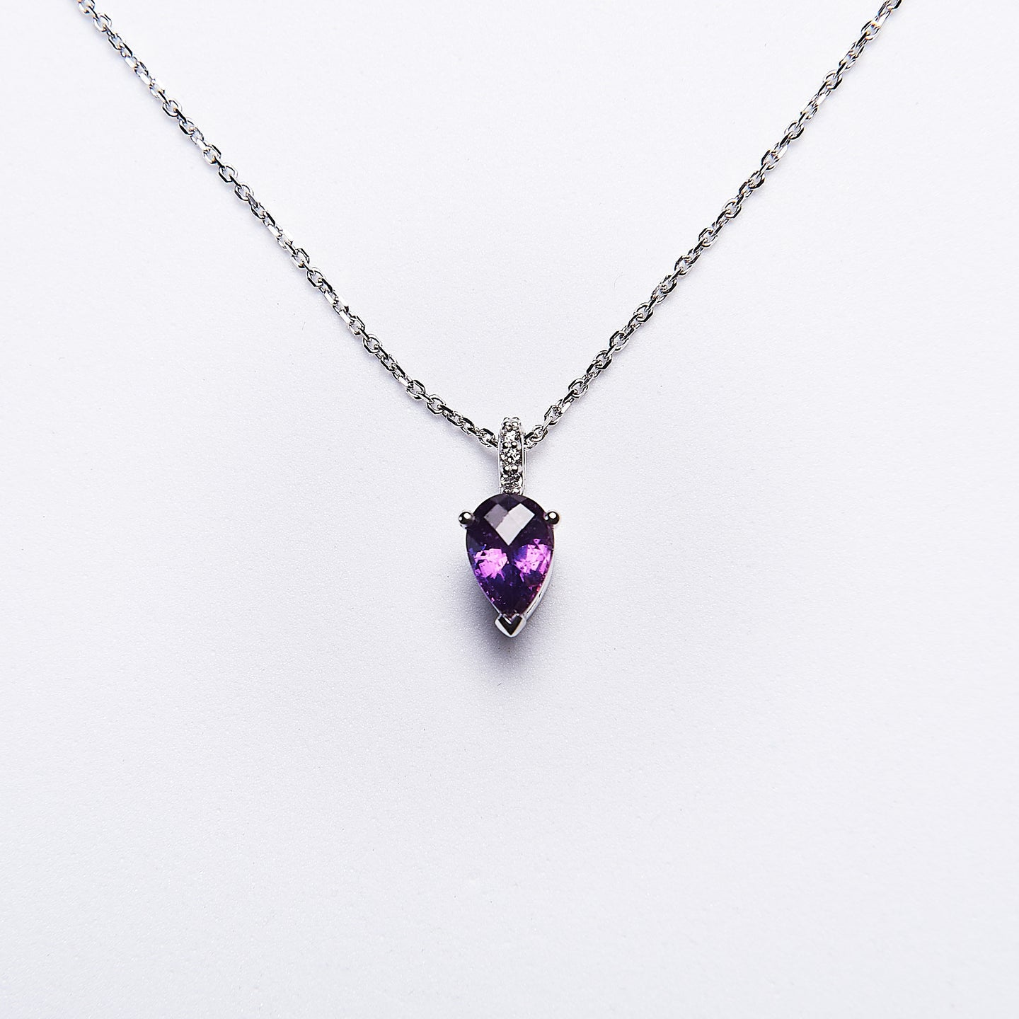 The Naomi - 14K White Gold Purple Sapphire & Diamond Pendant