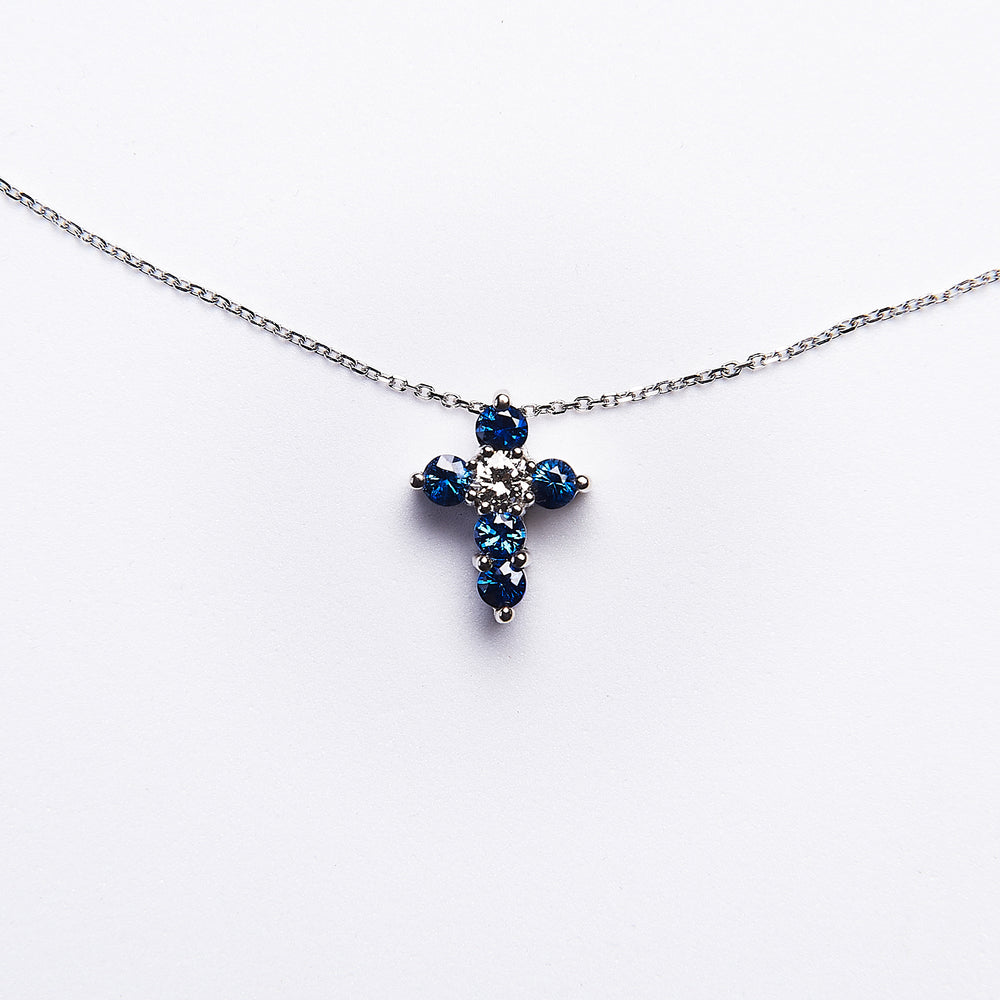 The Farrah - 14K WHITE GOLD BLUE SAPPHIRE & DIAMOND PENDANT