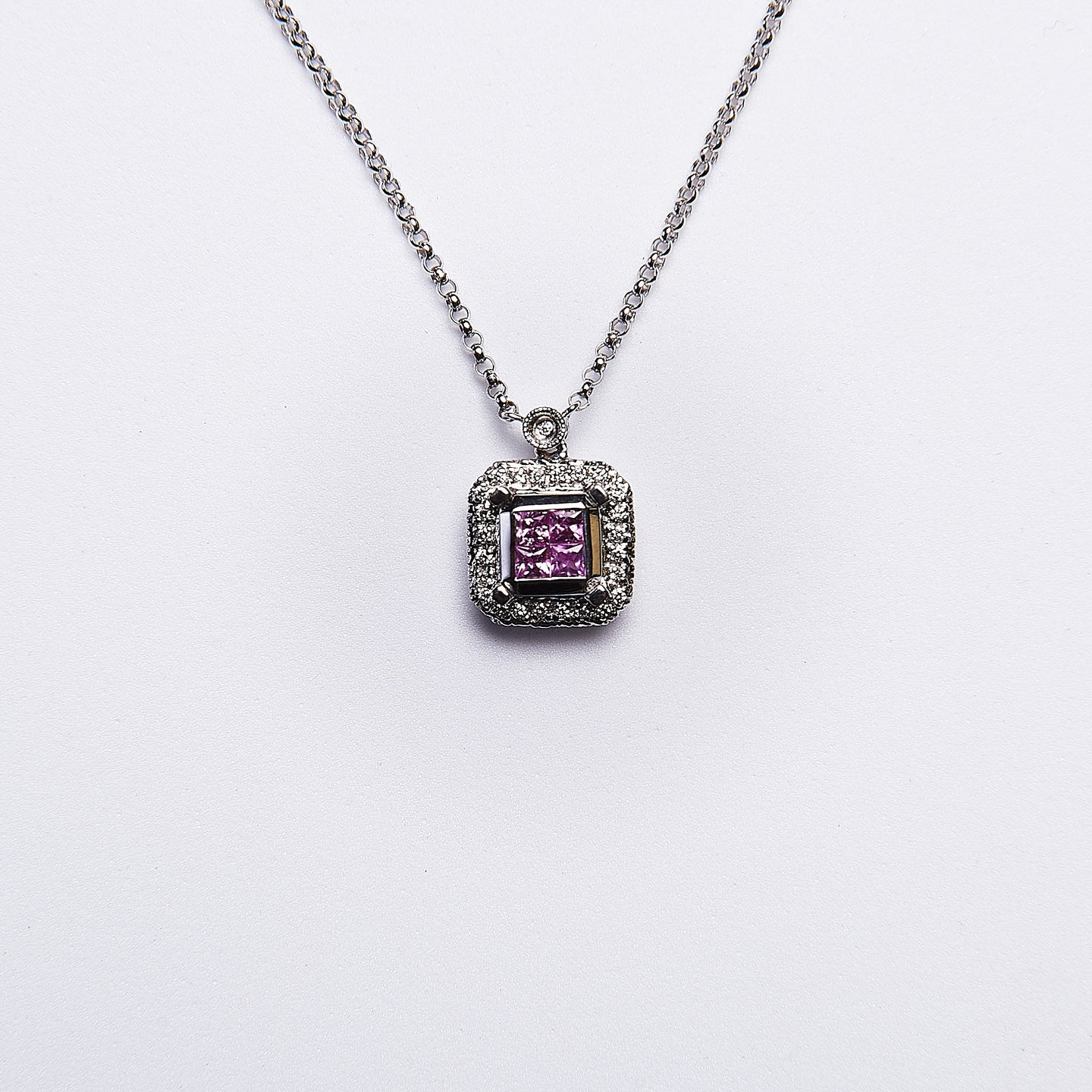 The Aquaria - 14K White Gold Pink Sapphire and Diamond Pendant