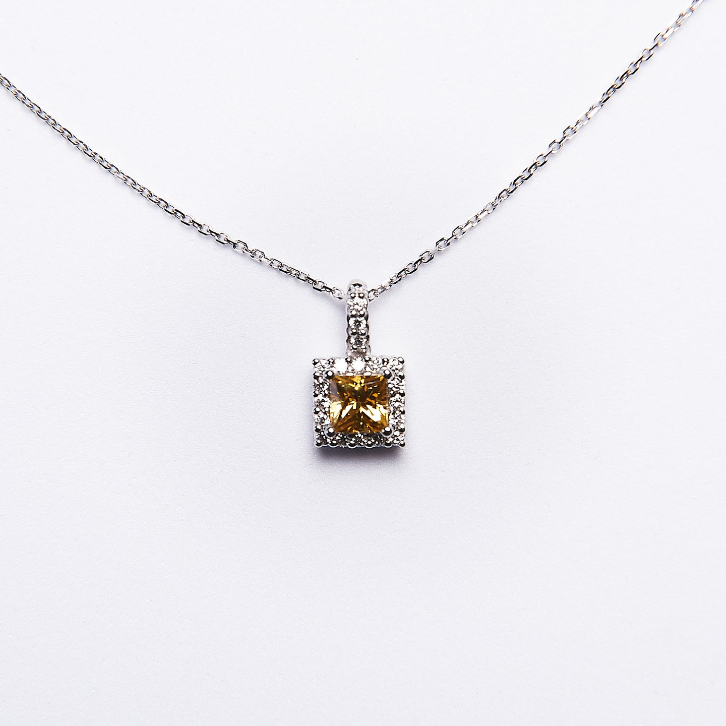 The Mariah - 14K White Gold Yellow Sapphire and Diamond Pendant