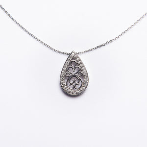 The Monet - 14K White Gold Tear Drop and Diamond Pendant