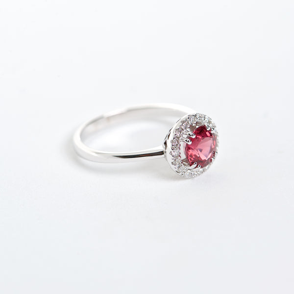 The Nikole - 18K Red Spinel and Diamond ring