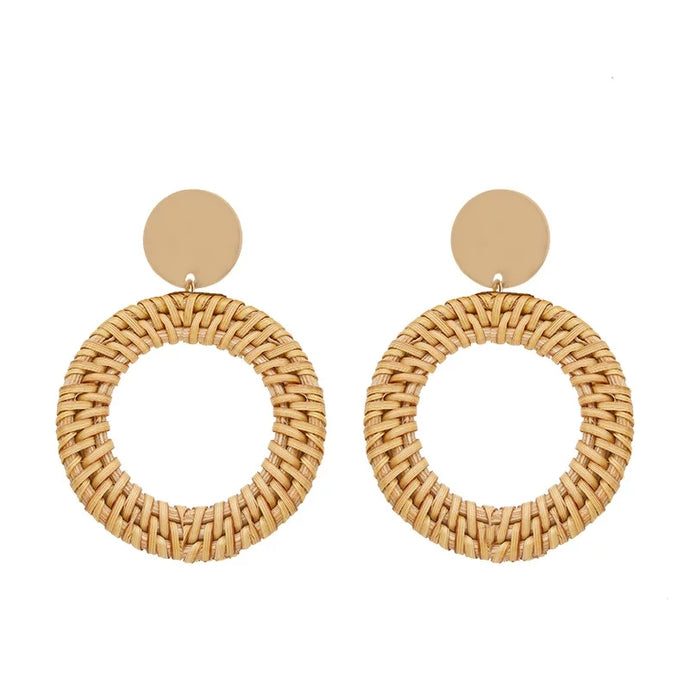 Round Bohemian Rattan Earrings