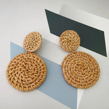 Load image into Gallery viewer, Double Disc Bohemian Rattan Earrings