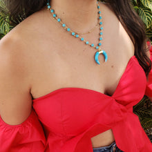 Load image into Gallery viewer, Blue Turquoise Crescent Moon Pendant Necklace - Loreta Accesorios