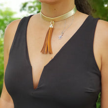 Load image into Gallery viewer, Leather Tassel Choker - Loreta Accesorios