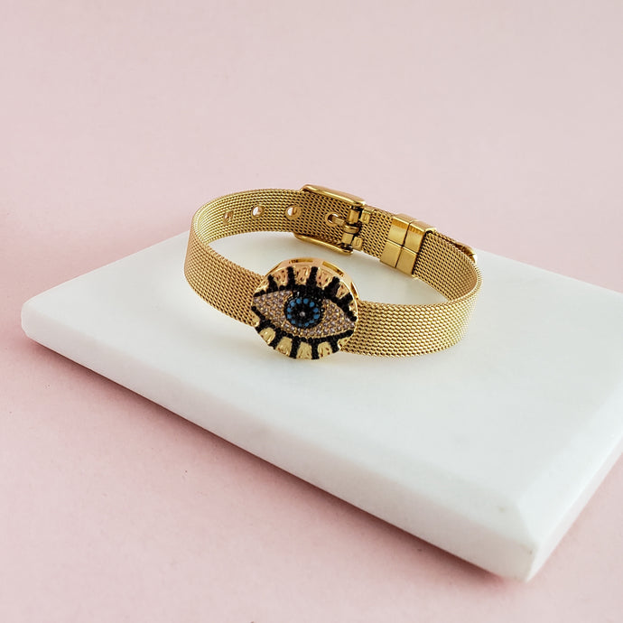 Gold Belt Eye Bracelet