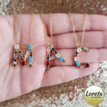 Load image into Gallery viewer, Crystal Initial Letter Necklace