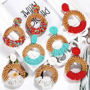 Colorful Rattan Earrings