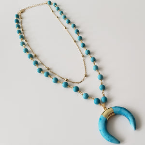 Blue Turquoise Crescent Moon Pendant Necklace - Loreta Accesorios