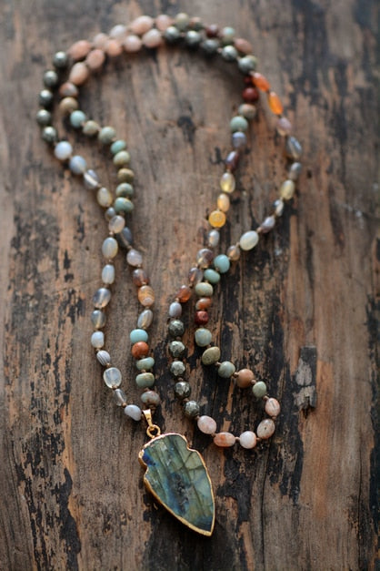 Arrow Quartz Labradorite Necklace
