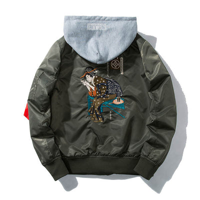 Hooded Geisha Embroidered Bomber Jacket