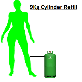 9Kg Lp Gas Bottle Refill + Cylinder Swap
