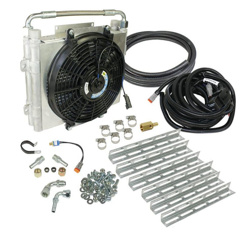 BD diesel XTRUDE DOUBLE STACKED TRANSMISSION COOLER WITH FAN - COMPLETE KIT 1/2IN LINES