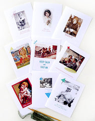 Knitting greeting cards set