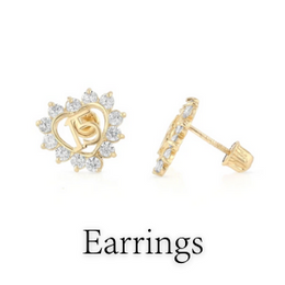 14K SOLID GOLD 15 ANOS QUINCEANERA earrings
