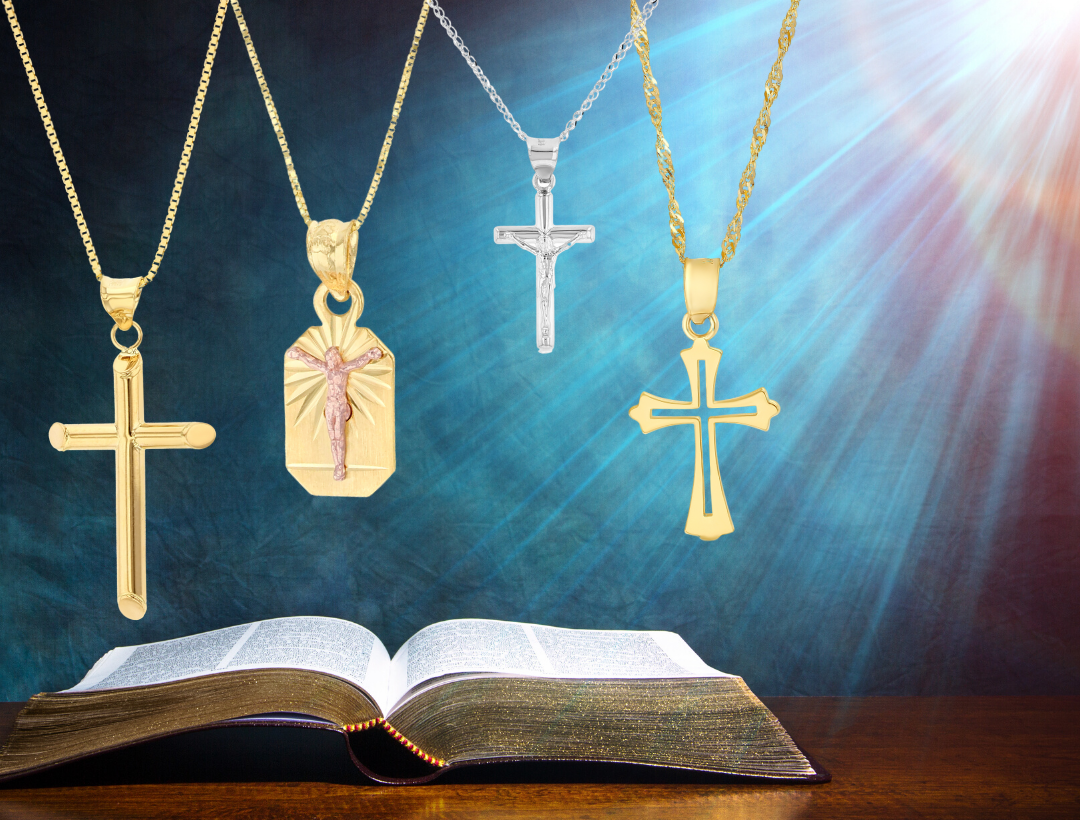 christian Cross Jewelry 14k Gold religious pendant cross Necklace chains rosaries Catholic medals miraculous Medallions Plain Cross pendants Jesus carrying cross catholic crucifix Guadalupe Guardian Angel Saint baptism communion prayer symbols of faith