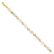 14K Gold Oval Links 15 Anos Flowers Bracelet - 7.25'
