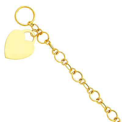 14K Solid Gold Light Hollow Bracelet with Heart Pendant - 7.5'