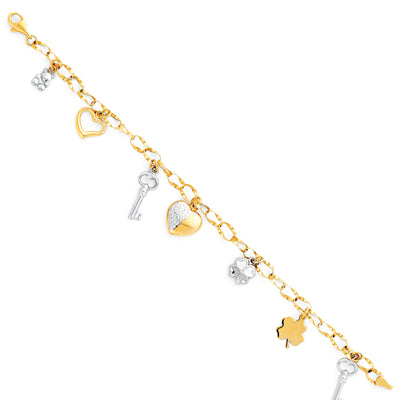 14K Gold Lucky Charms Clover Flower Heart Bear Hollow Bracelet - 7.5'