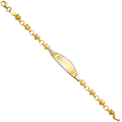 14K Solid Gold Stampato Oval Baby ID Bracelet - 6'