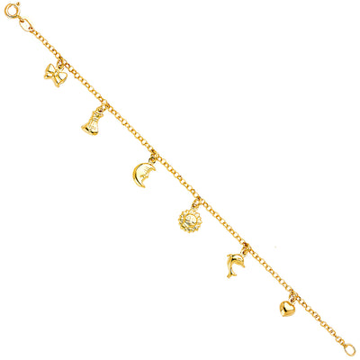 14K Solid Gold Hanging Bow Moon Sun Dolphin Heart Charm Bracelet - 7'