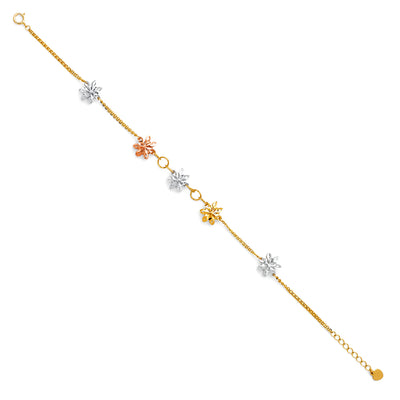 14K Gold Stamp DC Flower Chain Bracelet - 7+1'