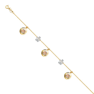 14K Gold 15 Years Quinceanera Chain Bracelet - 7+1'