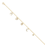 14K Solid Gold Light CZ Horseshoe Heart Flower Chain Bracelet - 7+1'