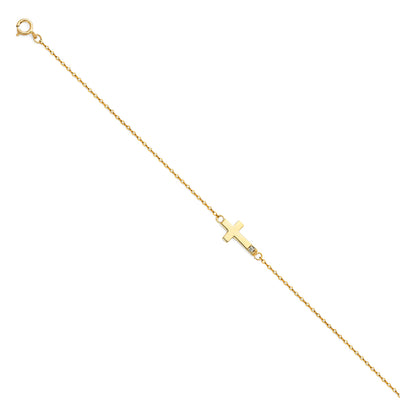 14K Solid Gold Light CZ Chain Bracelet - 7+1'