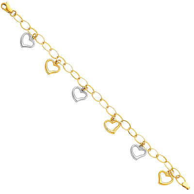 14K Gold Light Fancy Hollow Hearts Bracelet - 7.5'