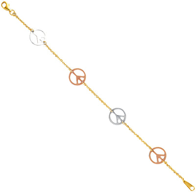 14K Gold Light Peace Bracelet - 7.5'